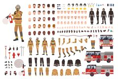 Firefighter creation set or DIY kit. Bundle of fireman body parts, facial expressions, protective clothing, equipment. Fire engine isolated on white background royalty free illustration