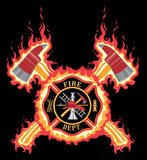 Firefighter Cross With Axes and Flames. Is an illustration of a fire department or firefighter cross with the firefighters tools logo and crossed axes with Stock Image