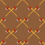 Firefighter Cross Axes Seamless Pattern. On Brown Background Royalty Free Stock Photos