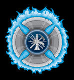 Firefighter Cross With Blue Flames. Illustration of a firefighter tools logo in a blue flaming maltese cross made with axe blades Royalty Free Stock Photography