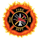 Firefighter Cross With Flames. Fire department or firefighter Maltese cross symbol illustration with flames. Includes firefighter tools symbol Stock Photography