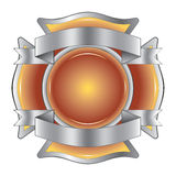 Firefighter Cross with Ribbons. Illustration of a firefighter Maltese cross made of gemstone with silver ribbons at the top and bottom Stock Photography