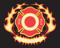 Firefighter Cross Symbol with Flaming Banner Stock Photo
