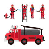 Firefighter Decorative Icons Set. Firefighter flat color icons set on white background with firetruck and fireman brigade isolated vector illustration Royalty Free Stock Photo