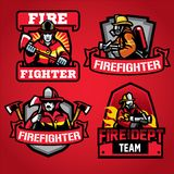 Firefighter department badge set. Vector of firefighter department badge set Royalty Free Stock Image