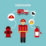 Firefighter design. Firefighter grafic design , vector illustration Stock Photography