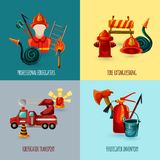 Firefighter Design Set. Professional firefighter design concept set with transport and inventory icons isolated vector illustration Stock Images