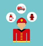 Firefighter. Design, vector illustration eps10 graphic Stock Image