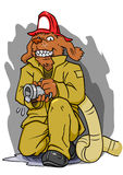 Firefighter Dog with Hose. Firefighter dog character holding a hose ready and looking tough Royalty Free Stock Photography
