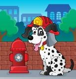Firefighter dog theme 2. Eps10 vector illustration Stock Image