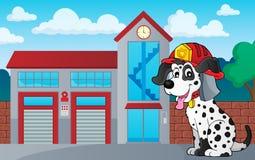 Firefighter dog theme 3. Eps10 vector illustration Stock Image