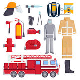 Firefighter elements coloured fire department emergency icons safety equipment protection vector illustration. Set of designed firefighter elements coloured Royalty Free Stock Images