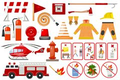 Firefighter elements fire department emergency city safety danger equipment fireman protection vector illustration. Burning house fighter flat emblem tool royalty free illustration
