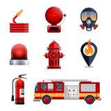 Firefighter elements set collection. Including mask, hose, fire extinguisher, hydrant, gps location spot. fire engine car vector illustration Royalty Free Stock Images