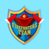 Firefighter emblem label badge and logo on white background. Firefighters team - Firefighter emblem label badge and logo  on blue background Royalty Free Stock Photo