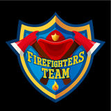Firefighter emblem label badge and logo on white background. Firefighters team - Firefighter emblem label badge and logo  on dark background Royalty Free Stock Photo