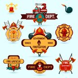 Firefighter Emblems Set. Firefighter volunteers and professional department emblems set isolated vector illustration Royalty Free Stock Image