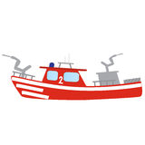 Firefighter emergency red fire boat Stock Images