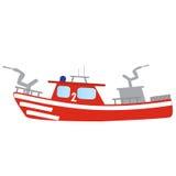 Firefighter emergency red fire boat. Firefighter emergency flat red fire boat with hose Stock Images