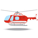 Firefighter emergency red fire helicopter. Firefighter emergency red flat fire helicopter with propeller Stock Photography