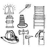 Firefighter,emergency  set, doodle Royalty Free Stock Image