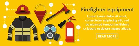 Firefighter equipment banner horizontal concept. Flat illustration of firefighter equipment banner horizontal vector concept for web Stock Image