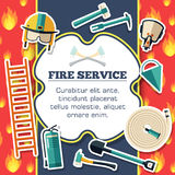 Firefighter equipment elements on red fire background poster in sticker style design. Vector illustration template card Stock Images