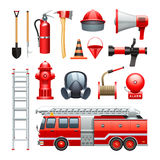 Firefighter Equipment And Machinery Icons Set. Firefighter tools equipment and engine red realistic icons collection with water house and extinguisher abstract Royalty Free Stock Images