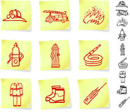 Firefighter Equipment on Post it Notes.  Royalty Free Stock Images