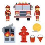 Firefighter and equipment. Set of firefighter equipment and clothing, tools, accessories. Flat vector cartoon illustration. Objects isolated on a white Stock Photo