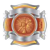 Firefighter Etched Cross with Tools Royalty Free Stock Photo