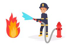 Firefighter extinguishes the fire. Vector. Cartoon. Isolated art on white background. Flat Royalty Free Stock Photo