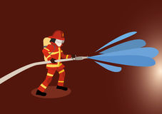 Firefighter extinguishes a fire. Vector illustration of firefighter extinguishes a fire Stock Photos