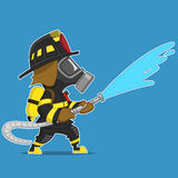 Firefighter extinguishes. Firefighter pours water from a hose. Vector illustration Stock Images