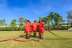 Firefighter fighting for fire attack training Royalty Free Stock Image