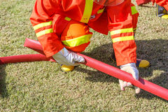 Firefighter fighting for fire attack training Royalty Free Stock Photo