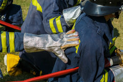 Firefighter fighting for fire attack training Royalty Free Stock Images