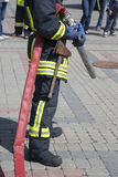Firefighter fighting for fire attack training Royalty Free Stock Photography