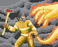 Firefighter Fights Fire Demon. Illustration of a firefighter fighting a demon made of fire Royalty Free Stock Photos