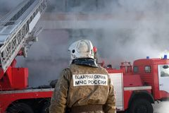 Firefighter on fire Stock Photo