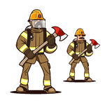Firefighter with the fire axe. Firefighter in mask standing with the firefighter axe Stock Photography