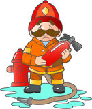 Firefighter with a fire extinguisher. Brave firefighter with a fire extinguisher Stock Images