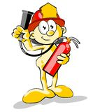Firefighter with a fire extinguisher in his hands Stock Photos