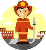 Firefighter with fire hose in flat style. Firefighter in uniform on background with fire truck and fire station Stock Images