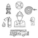 Firefighter with fire protection sketch symbols. Firefighter in protective helmet and uniform with fire protection sketch symbols, such as: fire truck, hydrant Royalty Free Stock Photo
