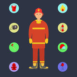 Firefighter with Fire Services icons. Brave firefighter with colorful Fire Services icons. Illustration on flat design Stock Images