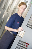 Firefighter in the fire station locker room Stock Photos