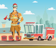 Firefighter and fire truck in station. Illustration Royalty Free Stock Image