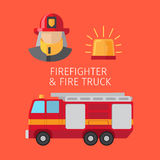 Firefighter and fire truck. Vector illustration on red background Stock Photography
