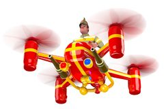 Firefighter. In uniform and in a helmet flying on a red quadcopter. 3D illustration Royalty Free Stock Images